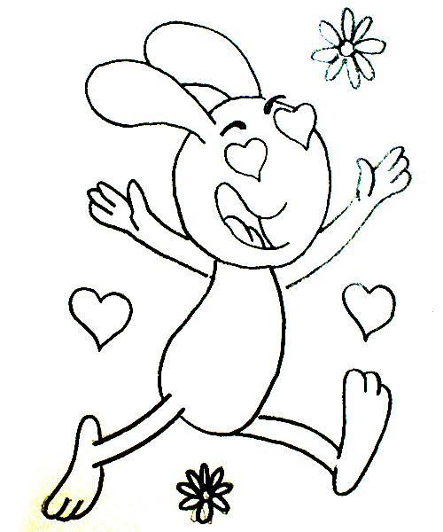 conejo con dibujo enamorado