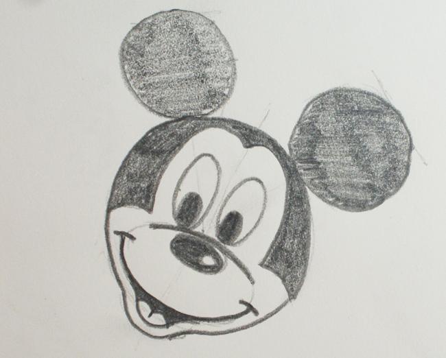 dibujo a lápiz de Mickey Mouse