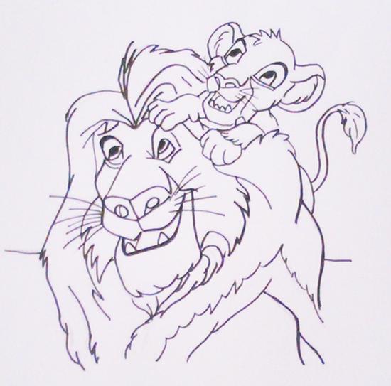 el rey león para pintar