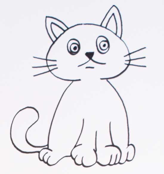dibujo de gato asustado