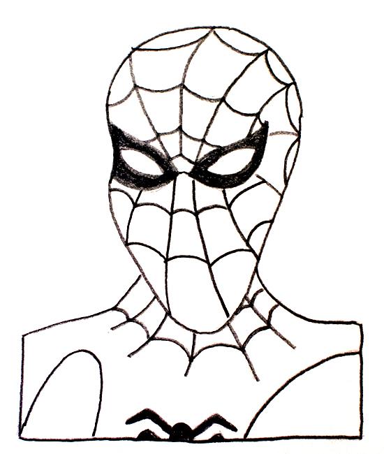 dibujito a lápiz de spiderman