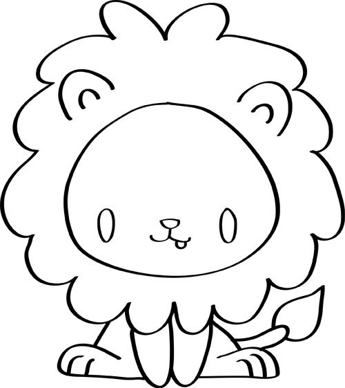 dibujos de leones para niños