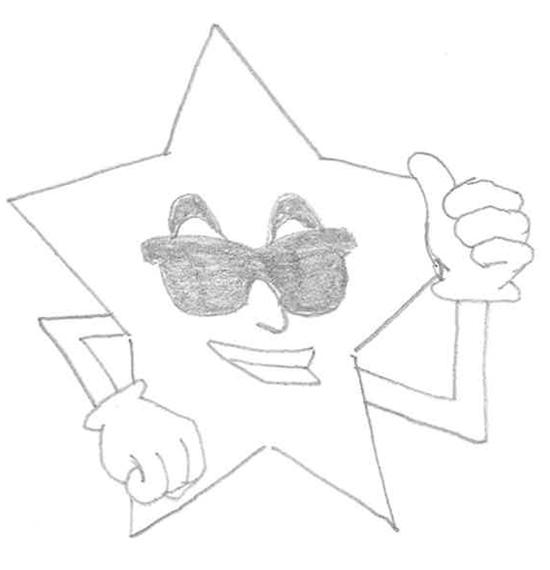caricatura de estrella con gafas
