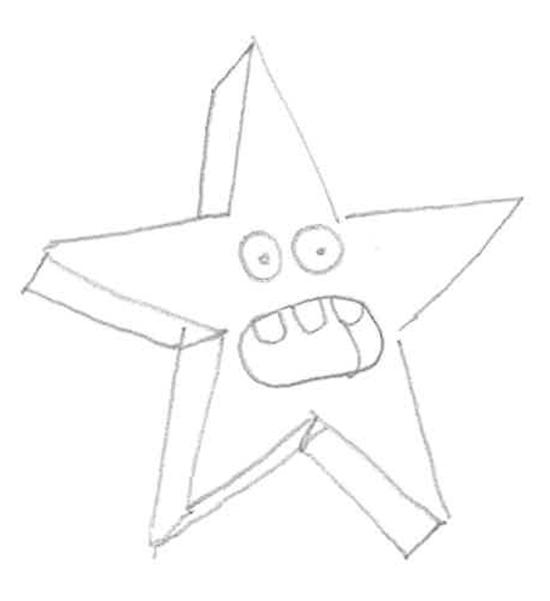 dibujando una estrella asustada