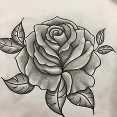 dibujo rosa facil