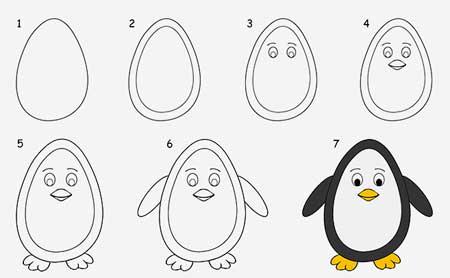 dibujos-faciles-de-pinguino