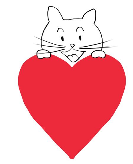 dibujo de corazon con gatito