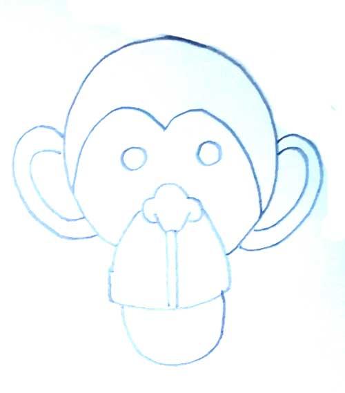 cabeza de mono a lapiz