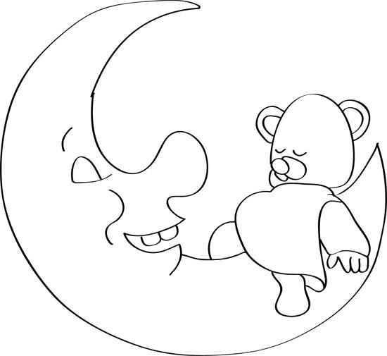 bonito dibujo de luna y osito
