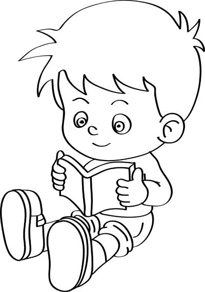 dibujo de niño con libro