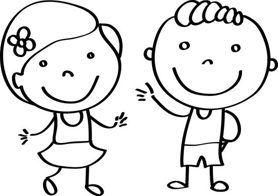 niño y niña para pintar