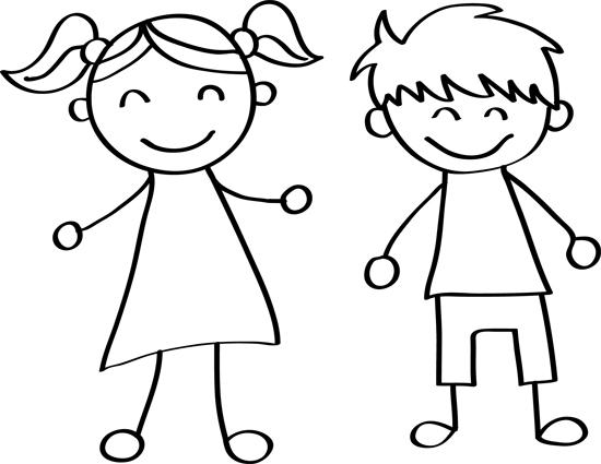 pareja de niños para colorear