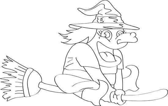 dibujo de bruja en escoba